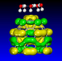 Accelrys - Cluster of 5 water molecules interacting with the tip of buckytube probe