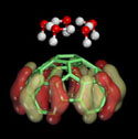 Accelrys - Five water molecules forming a H-bonded complex just above a carbon nanotube tip
