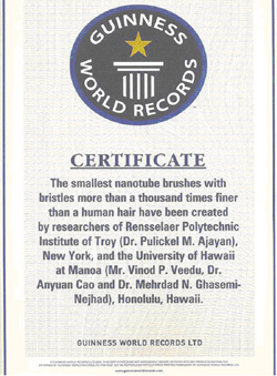 Nanotube Brush Holds Guiness World Record