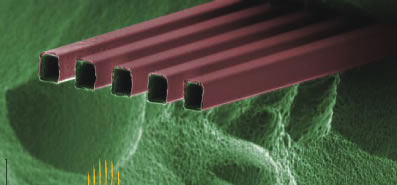 This zoom-in Scanning Electron Microscope image shows a five-nozzle M3 emitter, where each nozzle measures 10x12 microns.