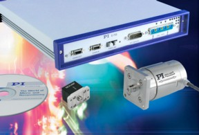 The E-755 Nanopositioning Motion Controller shown with two standard NEXLINE® linear actuators