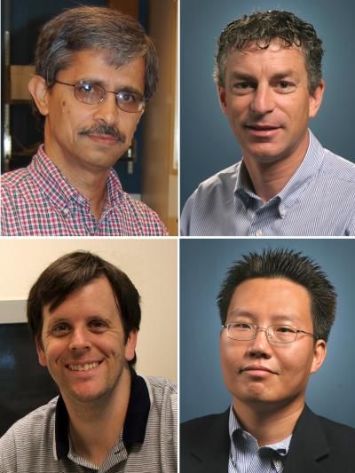 UCR engineers involved in the research project. Clockwise from top left: Ashok Mulchandani (pricipal investigator of the grant), Marc Deshusses, Nosang Myung and David Cocker.
