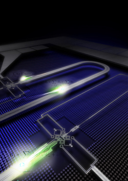 Artist's rendition of the NIST superconducting quantum computing cable.