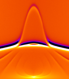 "Spectroscopic image showing the microwave-frequency magnetic resonances of an array of parallel, metallic thin film nanowires (""stripes""). The peak in the center is due to resonances occurring at the stripe edges while the strong horizontal bar is due to resonances in the body of the stripes.
