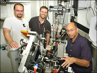 The research team at NSLS beamline X13B, from left: James Ablett, Aaron Stein, and Kenneth Evans-Lutterodt.
