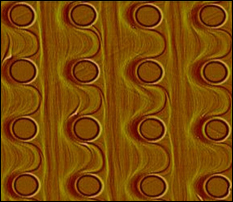 Template self-organization--cylindrical pits on a silicon surface.