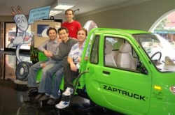 Veteran automotive and technology executive Albert Lam has joined the management team at electric car pioneer ZAP as part of a new manufacturing joint venture in China. He is joined in a Xebra electric truck with ZAP CEO Steve Schneider (left), Chairman and Co-Founder Gary Starr (right) and former United Shuttle President and Chief Operating Officer Amos Kazzaz (top).