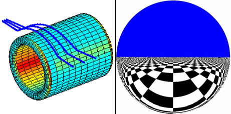 Figure: An electromagnetic wormhole can be in theory be built around a cylindrical body using metamaterials. On left, a ray tracing simulation how rays pass a wormhole device. Note that the cylindrical body is shown in the figure but the metamaterial coating is not. On right, figure how a wormhole would appear when the other side of the wormhole is above an infinite chess board below blue sky. The figure represents a very short wormhole and is quite similar to the image of a mirror ball on a chess board (illustrated by Kathryn Andersen).