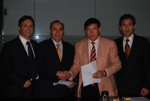 Company officials are meeting in China today for a the first Board of Directors meeting for a new joint venture to manufacture electric and hybrid vehicles. Pictured here left to right are: Steven Schneider, CEO of ZAP; Hossein Asrar Haghighi, CFO for the Al Yousuf Group; Pang Quingian, Chairman of Youngman Automotive Group; and Albert Lam, Chairman for the new joint venture company.