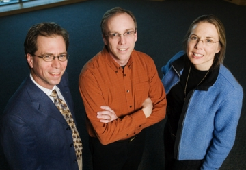 A new catalyst-free, self-healing material system developed by Jeffrey Moore, the Murchison-Mallory Professor of Chemistry at Illinois, is flanked by Scott White, a professor of aerospace engineering, and Nancy Sottos, a professor of materials science and engineering, offers a far less expensive and far more practical way to repair composite materials used in structural applications ranging from airplane fuselages to wind-farm propeller blades.