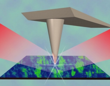 A stylized rendition of an infrared nanoscope illustrates how concentrated infrared illumination finely focuses upon a field just 20-billionths of a meter wide to view metallic puddles in vanadium dioxide as the material begins to transform from an electrically insulating state to an electrically conducting one.
