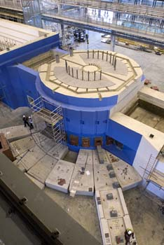A 6000 tonne steel and concrete structure surrounds the new new neutron source. High energy protons strike a tungsten target at the centre to release neutrons for experiments