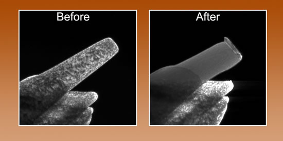 "Compression of a nickel pillar whose free end has a diameter of about 150 nanometers. Before compression (left) the pillar has a high density of defects, visible as dark mottling. After compression all the defects have been driven out, a previously unobserved process known as ""mechanical annealing."""
