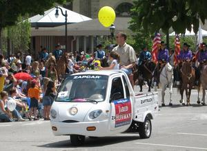 More and more are plugging the electric car issue. California Assembly Member Jared Huffman used a 100 percent ZAP truck for his annual appearance at the largest parade in his district. The year before he used a gas hybrid.