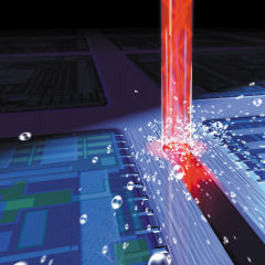 3D animation picture showing the water jet guided laser beam, used for dicing a wafer. Source: SYNOVA S.A.