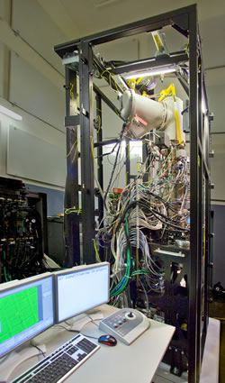 TEAM 0.5, the world's best transmission electron microscope, is being assembled at the National Center for Electron Microscopy. (Photo Roy Kaltschmidt, Berkeley Lab CSO)