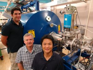Dr Avi Shalav, Professor Rob Elliman and Tae-Hyun Kim with a high energy ion implanter