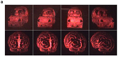Views of an automobile (top) and of a human brain (bottom)