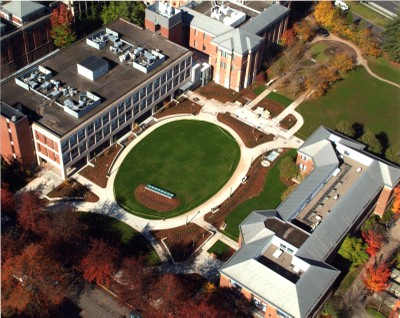Bird�s eye view of the Lorry I. Lokey Laboratories, under the oval-shaped Science Green courtyard connecting Huestis (left) Streisinger (top left) and Deschutes (lower right) halls. This location is the east end of the Lorry I. Lokey Science Complex, which includes 11 existing buildings. Lokey Laboratories is the first completed building in a new section called the Integrative Science Complex.