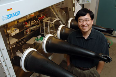 Victor Lin, an Iowa State University professor of chemistry and director of the Center for Catalysis, is leading a project that's developing a system to convert plant biomass into ethanol.  Photo by Bob Elbert.