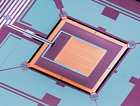 Colorized micrograph of a NIST chip combining four microrefrigerators (circled in red) with a superconducting sensor (large orange square in the middle). The self-cooling chip could be used for applications ranging from detailed X-ray analysis of semiconductors to detection of microwave signals in deep space.