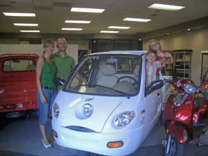 A mother of two is opening an electric car dealership in the electric vehicle friendly town Rocklin, California. The opening will be held Friday, May 30, 2008 at Electric Car Living. The new ZAP Xebra sedan and pickup were designed to be an economical, gas-free alternative for city driving up to 40 MPH.