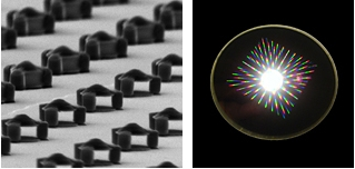 Microscopic magnets (above left), designed and tested in a joint NIST/NIH project, might one day be injected into the body to add color and �smart tag� capability to magnetic resonance imaging for medical diagnosis and research. The image on the right shows light scattering from grids of magnets on a wafer where they were made using conventional microfabrication techniques.
