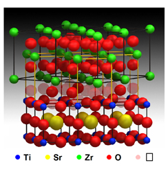 The molecular model of the ion-conducting material shows that numerous vacancies at the interface between the two layers create an open pathway through which ions can travel.