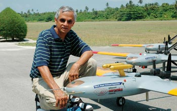 V. Ramanathan, chief scientist of CAPMEX, with several AUAVs that will fly above China.