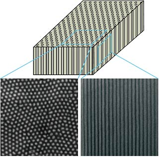 A schematic and two scanning electron microscope images with top and side views of a metamaterial developed by UC Berkeley researchers. The material is composed of parallel nanowires embedded inside porous aluminum oxide. As visible light passes through the material, it is bent backwards in a phenomenon known as negative refraction. (Jie Yao/UC Berkeley)