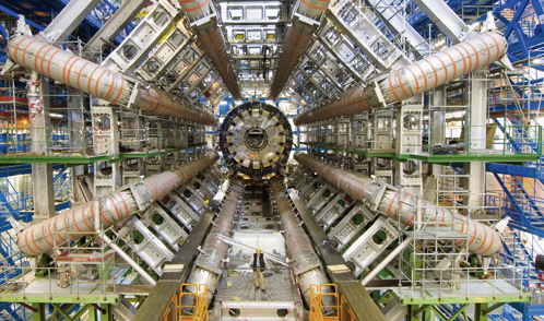 Higgs bosons will be caught in the ATLAS detector's net with its eight magnetic coils.
