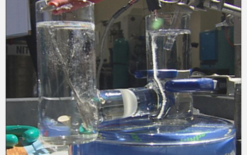 A snapshot showing the new oxygen catalyst in action in Dan Nocera's laboratory at MIT.