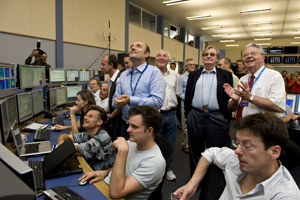 A historic moment in the CERN Control Centre: the beam was successfully steered around the accelerator.