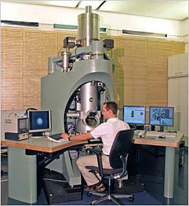 Dr. Christoph Koch, scientist at the StEM of the Max-Planck-Institute for Metals Research (Stuttgart/Germany) conducts experiments with the SESAM TEM.