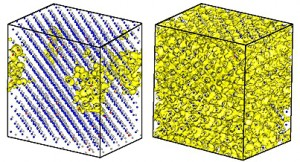 A test run of LS3DF, which took one hour on 17,000 processors of the Franklin supercomputer at NERSC), performed electronic structure calculations for a 3500-atom ZnTeO alloy. Isosurface plots (yellow) show the electron wavefunction squares for the bottom of the conduction band (left) and the top of the oxygen-induced band (right). The small grey dots are Zn atoms, the blue dots are Te atoms, and the red dots are oxygen atoms. (Image courtesy of Lin-Wang Wang)