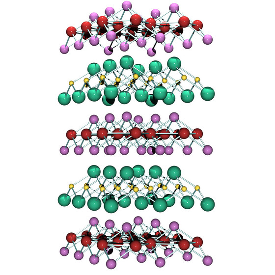 Figure 1: Structure of the iron-based superconductor SmFeAsO1-xFx: Fe (yellow), As (green), Sm (purple), O (red). The excess fluorine (F) substitutes for the oxygen sites.