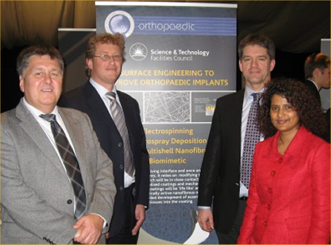 Alternative Text for image (if uploaded):  Mr Mansel Williams (Micro and Nanotechnology Centre), Mr Julian Fairman (Symmetry Medical), Dr Robert Stevens (The Electrospinning Technology Company, Ltd) and Dr Rajshree Mootanah (Anglia Ruskin University).