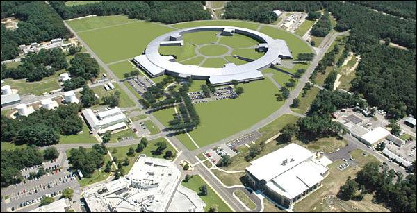 Rendering of the National Synchrotron Light Source II as it will appear on the Brookhaven campus. In the foreground at left is the current NSLS. The Center for Functional Nanomaterials is at right.