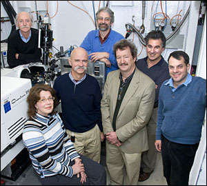 Some of the members of Brookhaven Lab's X-ray Crystallography Research Resource team are: (back row, from left) Dieter Schneider, Allen Orville, Lonny Berman and (front row, from left) Annie H�roux, Robert Sweet, Howard Robinson and Alexi Soares.
