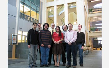 "Cornell University researchers (left to right) Eisuke Murotani, George Malliaras, Alex Zakhidov, Christopher Ober, Priscilla Taylor, Hon Hang Fong, Jin Kyun Lee and John De Marco. The Cornell team is working with scientists at the University of Melbourne in Australia to develop ""flexible electronics"" from organic semiconducting materials.