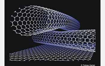 Ball and stick model of two crossing (10, 10) carbon nanotubes on a graphite surface.