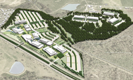 A map of the planned Gateway University Research Park.  The JSNN will be housed in the South Campus of the park, pictured above. 