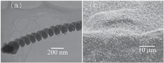 Image (a) to the left shows the morphology of an individual Nanospring viewed using a transmission electron microscope (TEM). At high resolution, the amorphous nature of the Nanosprings is evident. A Nanospring mat (b) is shown in the scanning electron microscope (SEM) image.