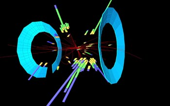 This image shows a typical outcome of the collision of a proton and an antiproton.