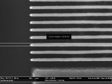 SEM micrograph of 20nm lines, 50nm pitch that highlights very stable and dense HSQ structure using the optimal doses provided by the NanoMaker software.  HSQ resist thickness is 180nm.