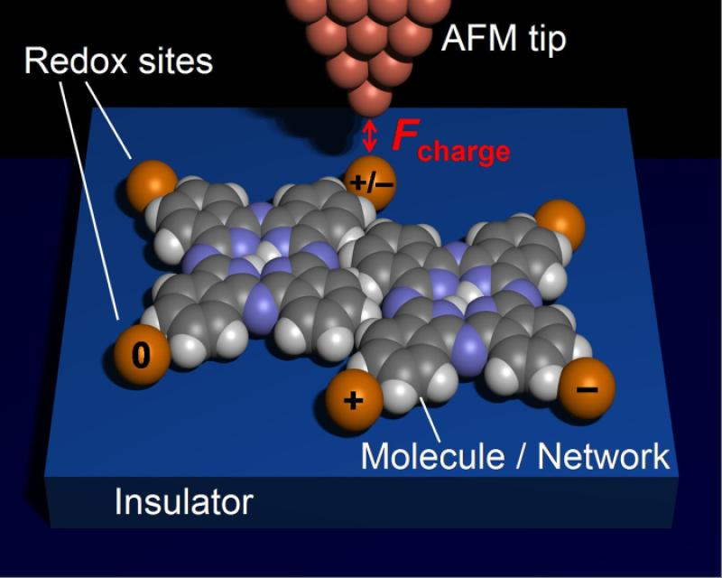 In future experiments, scientists envision using the current method to study the charge transfer in molecule complexes: Single atoms (orange) could be connected with molecules to form metal-molecular networks. Using the tip for charging these atoms, scientists could then inject electrons into the system and measure their distribution directly with the non-contact AFM. Understanding the charge distribution in molecules and molecular networks is a crucial step in the exploration of future computing elements on the nanoscale.