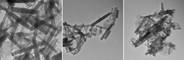 TEM images of nanotubes obtained when bulk SnS2 (a) and bulk SnS (b, c) were used as precursors for the synthesis of SnS2 nanotubes.