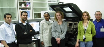 Shown with the MFP-3D AFM are Amir Moshar of Asylum Research, Superb Misra, Deborah Berhanu, Éva Valsami-Jones, and Agnes Dybowska of the Museum of Natural History, and Mick Phillips of Asylum Research.