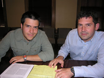 Dr. Jose Conejo-Garcia (right) with graduate student Juan Cubillos-Ruiz