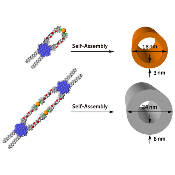 Figure 1: Two examples of nanotubular assemblies fabricated from single hexabenzocoronene amphiphile building blocks (blue/grey/red spheres) and platinum (Pt) metal ions (orange spheres). 